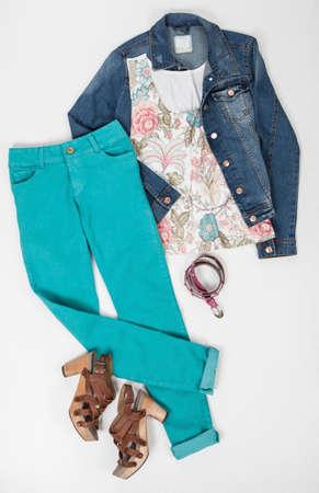 Women Clothing; Set: Pants, Jacket, Blouse, Belt, And Shoes on White Background. Imagens