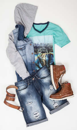 Clothes for men; Set: Shorts, Jacket, T-shirt and Shoes, Photo on White Background.