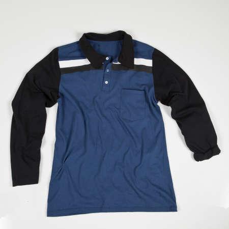 T-shirt Polo Long Sleeve On White Background. Imagens