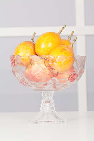 Glass Fruit Bowl With Fruits.