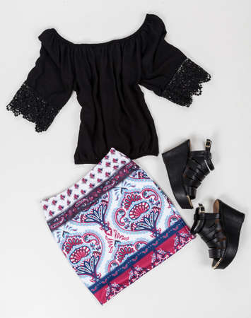 Women Clothing; Set: Skirt, Shirt And Shoes On White Background.