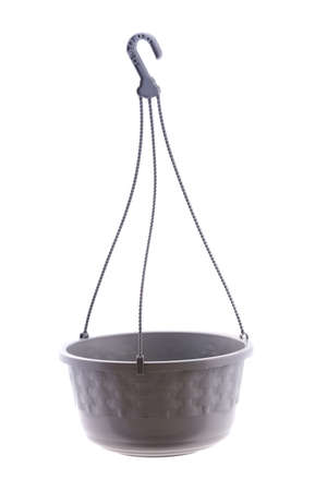 Gray Plastic Pot with hanging, Gardening - Photo On White Background.