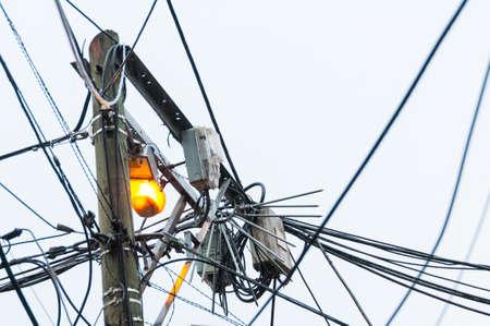 Public lighting pole in a popular neighborhood in the city of Medellin Colombia.