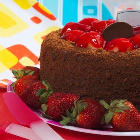 Food - Tasty chocolate cake with caramelized strawberries.