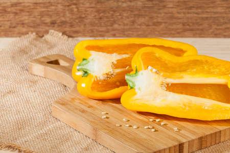 Capsicum annuum - Healthy food; yellow sweet pepper. Zdjęcie Seryjne