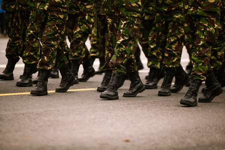 Soldiers marching during Romanias National Day military parade
