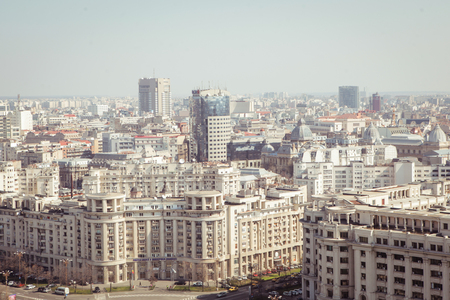 Central Bucharest, Romania, seen from above