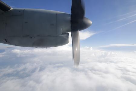 MIHAIL KOGALNICENU, ROMANIA - APRIL 27: Engine of an Alenia C2-27J Spartan military aircraft seen through the window,  Friday, April 27, 2018, in Mihail Kogalniceanu military airbase. Editorial