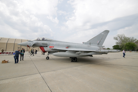 MIHAIL KOGALNICENU, ROMANIA - APRIL 27 Royal Air Force Eurofighter Typhoon fighter jet is presented to the press, at the Mihail Kogalniceanu military airbase, in eastern Romania, Friday, April 27, 2018. Editöryel