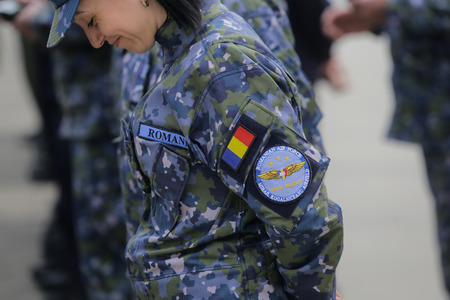 Romanian Air Force symbol on a female soldier uniform
