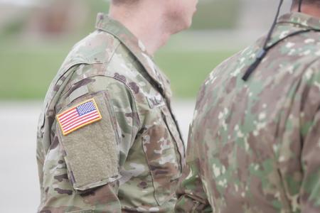 United States flag symbol on a US soldier uniform Redakční
