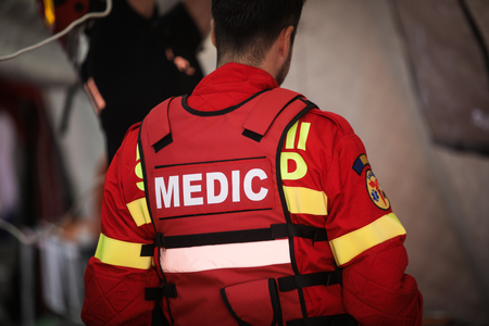 Details of a paramedic uniform from the Romanian emergency rescue service SMURD