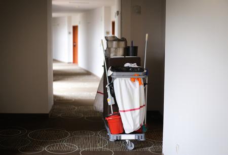 Maid trolley on the hallway of a luxury hotel