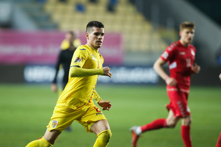PLOIESTI, ROMANIA - Saturday November 17, 2018 - Romanian soccer player Ianis Hagi, son of famous Gheorghe Hagi, plays against Lithuania on a UEFA Nations League match. Ilie Oana Stadium, Ploiesti, Romania.