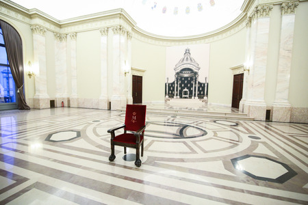 BUCHAREST, ROMANIA - November 26, 2018: Royal throne in the Throne Hall of the Royal Palace of Romania, in Bucharest Editorial
