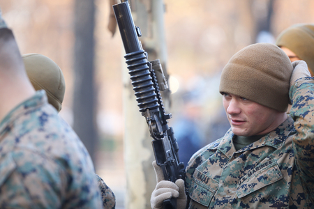 BUCHAREST, ROMANIA - December 1, 2018: US marines take part at the Romania's National Day military parade, in Bucharest. Redakční
