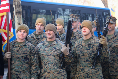 BUCHAREST, ROMANIA - December 1, 2018: US marines take part at the Romania's National Day military parade, in Bucharest. Editorial
