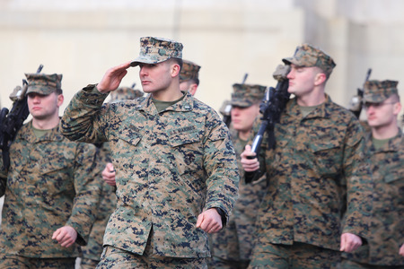BUCHAREST, ROMANIA - December 1, 2018: US marines take part at the Romania's National Day military parade, in Bucharest. Sajtókép