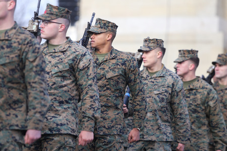 BUCHAREST, ROMANIA - December 1, 2018: US marines take part at the Romania's National Day military parade, in Bucharest.