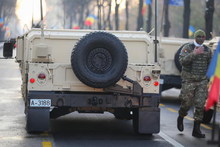 BUCHAREST, ROMANIA - December 1, 2018: Rear of a Humvee military vehicle from the Romanian army at Romanian National Day military parade