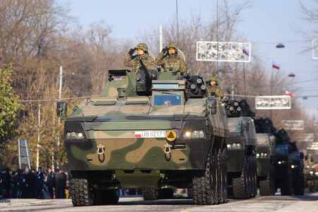 BUCHAREST, ROMANIA - December 1, 2018: Polish ROSOMAK armored vehicles at Romanian National Day military parade