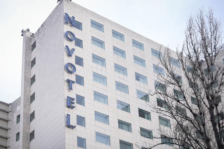 Bucharest, Romania - January 4, 2019: Novotel Hotel building in Bucharest Editorial
