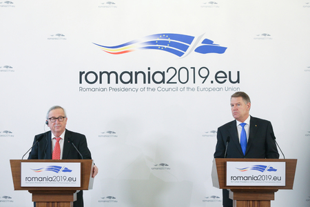 Bucharest, Romania - January 11, 2019: European Commission President Jean-Claude Junker holds a press briefing together with Romanias President Klaus Iohannis, at Cotroceni presidential palace in Bucharest.