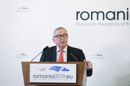 Bucharest, Romania - January 11, 2019: European Commission President Jean-Claude Junker holds a press briefing together with Romanias President Klaus Iohannis (not pictured), at Cotroceni presidential palace in Bucharest.