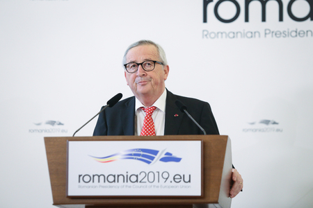 Bucharest, Romania - January 11, 2019: European Commission President Jean-Claude Junker holds a press briefing together with Romania's President Klaus Iohannis (not pictured), at Cotroceni presidential palace in Bucharest.