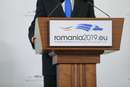 Bucharest, Romania - January 11, 2019: Logo of the Romanian Presidency of the Council of the European Union during a press briefing