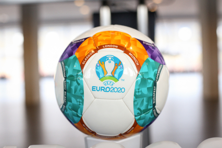 Bucharest, Romania - January 29, 2019: The 2020 UEFA European Football Championship (commonly referred to as UEFA Euro 2020) logo and official ball during a press event on the National Arena Stadium in Bucharest. Editorial