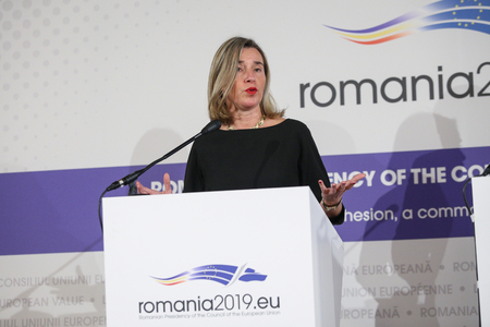 Bucharest, Romania - January 24, 2019: Federica Mogherini, EU High Representative for Foreign Affairs and Security Policy attends a news conference during the EU informal meeting of defense ministers, in Bucharest.