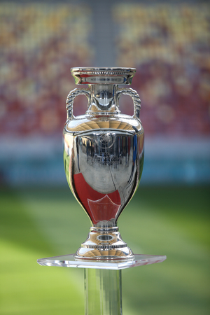 Bucharest, Romania - March 16, 2019: The original UEFA Euro 2020 tournament trophy is being presented to the public on the National Arena Stadium in Bucharest.