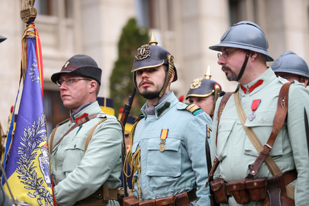 Bucharest, Romania - April 7, 2019: WWI reenactors take part at military ceremony.