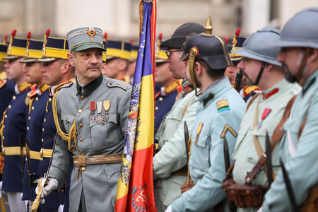 Bucharest, Romania - April 7, 2019: WWI reenactors take part at military ceremony.