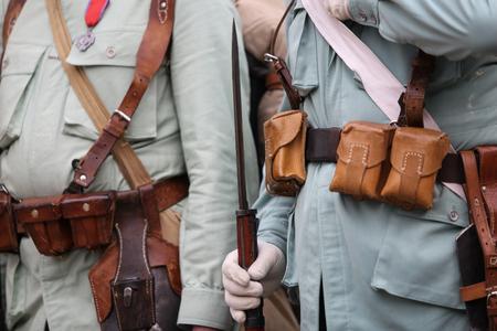 World War I reenactors with their equipment