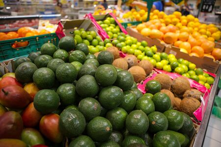 Avocados, coconuts, limes, grapefruits, oranges and mangos on the fruits and vegetables aisle in a store.
