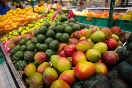 Mangos, avocados, limes, grapefruits, oranges and coconuts on the fruits and vegetables aisle in a store. Stock fotó