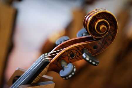 Details with the scroll, peg box, tuning pegs, strings, neck and fingerboard of a violin before a symphonic classical concert Stock fotó