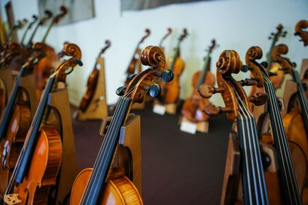 Details with parts of violins before a symphonic classical concert Stock fotó