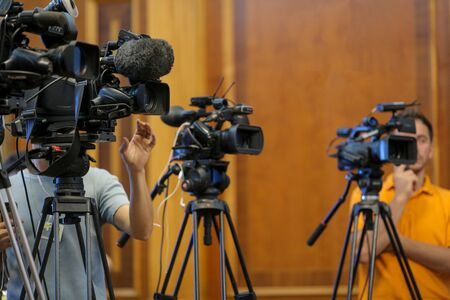 Details with television video cameras and recording equipment during a press event Standard-Bild - 129568083