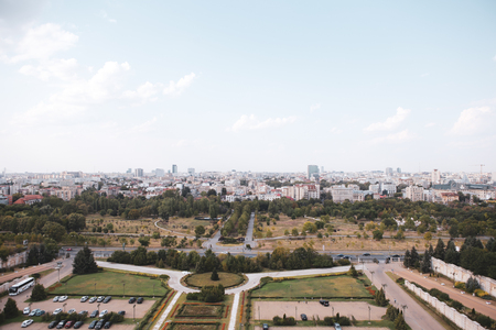 Cityscape of old part of Bucharest, with Izvor Park in the foreground, with many worn out buildings, as seen from the Palace of Parliament Sajtókép