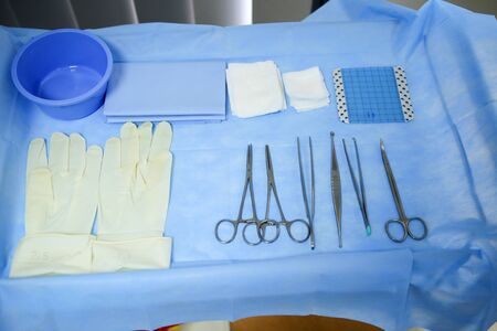 Details with surgical stainless steel grasping instruments (artery and tissue forceps, spatula, hemostats), tampons and surgical gloves