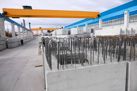 Shallow depth of field (selective focus) image with steel designed for reinforced concrete, in a factory.