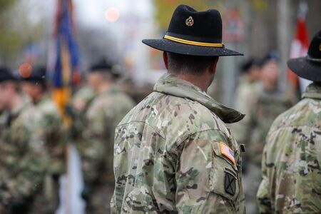 Bucharest, Romania - December 01, 2019: US Army soldiers of the 1st Cavalry Division take part at the Romanian National Day military parade.