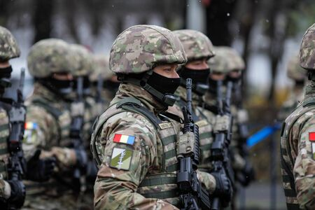 Bucharest, Romania - December 01, 2019: Romanian army soldiers at the Romanian National Day military parade.