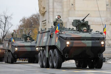 BUCHAREST, ROMANIA - December 1, 2019: Mowag Piranha armored military vehicle at Romanian National Day military parade Editorial