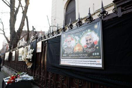 Bucharest, Romania - January 10, 2020: Picture showing iranian general Qassim Soleimani and iraqi Abu Mahdi al-Mohandes at the Iranian embassy in Bucharest. Editorial