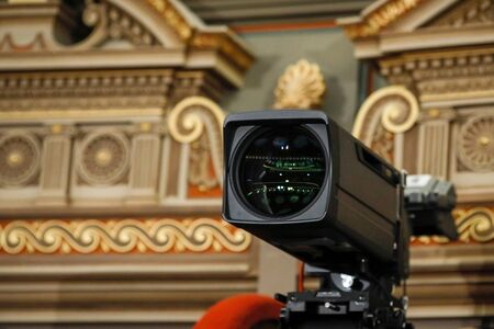 Details with a professional camera inside a classical music hall.