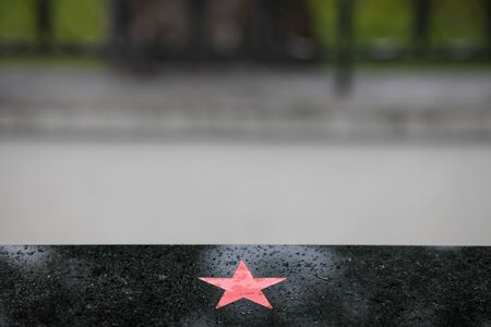 Soviet Army red star in a Red Army cemetery Stock Photo